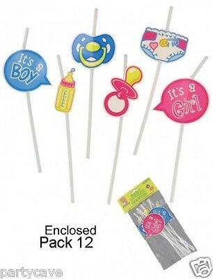 12 Pack Baby Shower Party Unisex Straws With Cutouts Attached Table Decoration