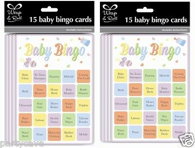 15 Pack Baby Shower Party Bingo Game Unisex Neutral Girl Boy Fun For 15 Players