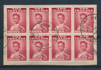 THAILAND SIAM TRAD TRAT POSTMARKS on BLOCK of 8 stamps