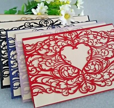 Love Heart Laser Cut Wedding Invitation Cards with Insert, Envelope and Sticker