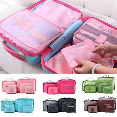 6PC Travel Luggage Zipped Storage Bag Clothes Tidy Organizer Case Pouch Suitcase