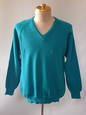 Vintage retro true 80s L aqua wool v-neck jumper mens very good