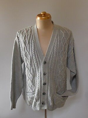 Vintage retro true 80s L cardigan grey cable knit wool mens very good Ansett