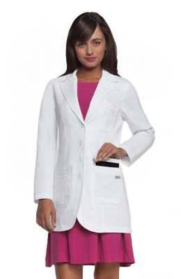 Greys Anatomy 4425 Womens 3 Pocket Junior Fit 32 inches White Lab Coat NWT