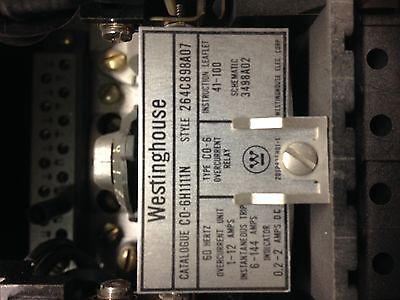 264C898A07 CO-6H111N Westinghouse Overcurrent Relay