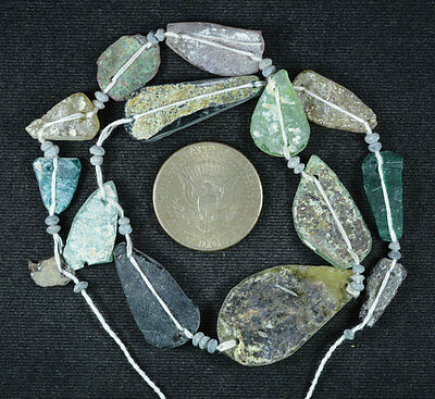 Ancient Roman Glass Beads 1 Medium Strand Aqua And Green 100 -200 Bc 599
