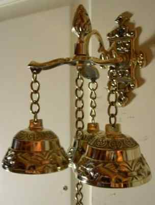 Antique Style Shopkeepers Triple Bell ~ Brass Store Doorbell