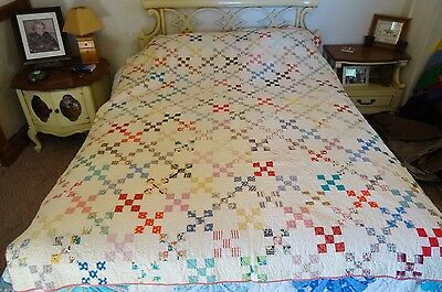 Antique HAND MADE QUILT Scrap 9 Patch fabrics from 1930 to 1950 Tulip design