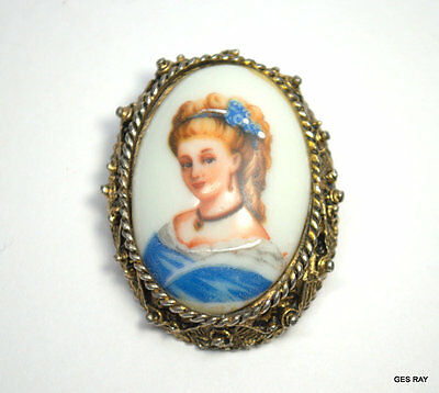 Antique Vintage FRANCE Limoges Signed Oval Porcelain Cameo  Brooch Pin Pendant