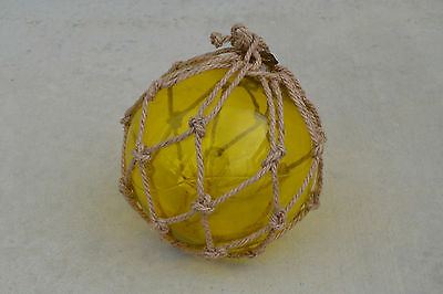 """Yellow Blown Glass Float Fishing Buoy Ball With Fishnet 12"""" Sf-958"""