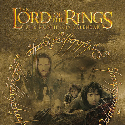The Lord of the Rings Movies 16 Month 2017 Wall Calendar, NEW SEALED