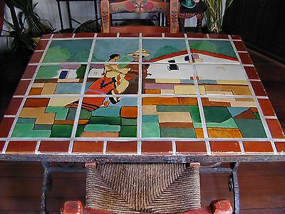 San Jose Tile Pottery Dining Room Tile And Iron Table! Old Super Rare!! Buy Now!