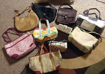 COACH Lot 10 Handbag Purse TLC Poor/Fair/Good Vtg Fixer-Uppers Leather/Jacquard+