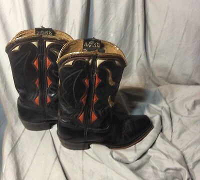 VINTAGE COWBOY BOOT GOLD ANGUS WOMENS 5 Youth 4 WEST WEAR BUCKAROO
