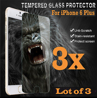 3x Premium Real Tempered Glass Screen Protector for iphone 6 Plus 6S + HQ lot 3