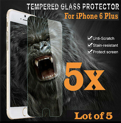 5x Premium Real Tempered Glass Screen Protector for iphone 6 Plus 6S + HQ lot 5
