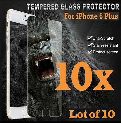 10x Premium Real Tempered Glass Screen Protector for iphone 6 Plus 6S+ HQ lot 10