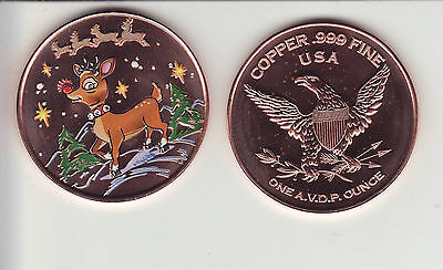 "RUDOLPH 1 oz. Copper Round ""Colorized"" Christmas Coin"