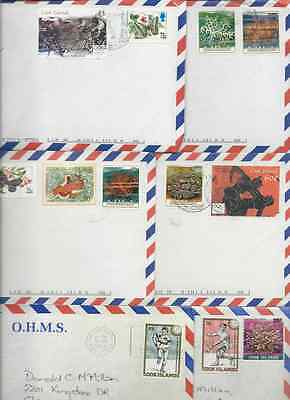 48 Cook Islands Ohms Airmail Covers Fish Flowers Ships Birds Art Ovpt's Inserts