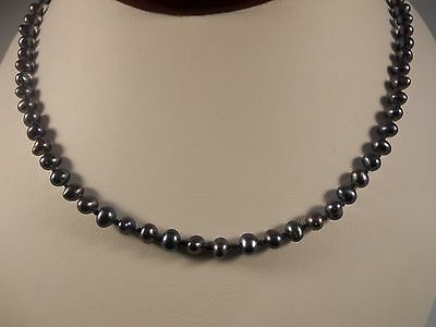 Black Freshwater Cultured Pearl Necklace With Sterling Silver Clasp