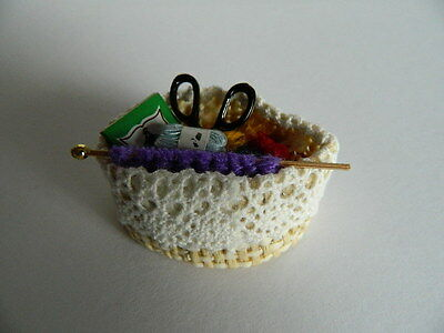 (M1.3) Dolls House Basket Of Knitting Accessories