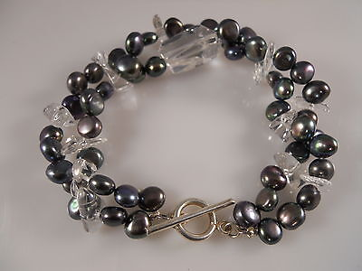 Black Freshwater Pearl And Clear Stone Bracelet With Sterling Silver Clasp