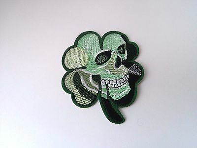 New Green Clover Leaf Skull Embroidered Cloth Patch Applique Badge Iron Sew On