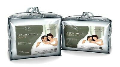 Egyptian Cotton Double Bed Duvet Quilt, All Togs, & Pillows 100% Cotton, Uk Made
