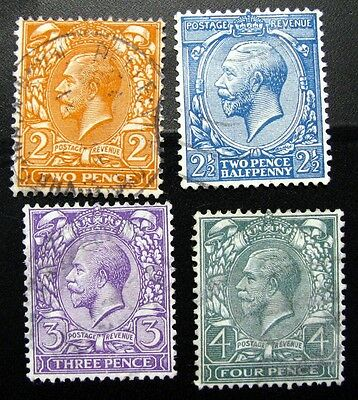 GREAT BRITAIN – 1912-13 - SEVEN STAMP LOT Sc#'s 162 – 172 ALL USED