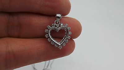 """Stunning .925 Sterling Silver Diamond Cluster Heart Pendant W/ Chain 18"""" A7522"""