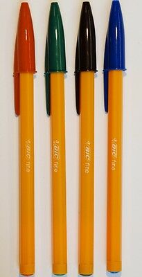 Bic Orange Original Fine Ball Point Pens 0.8mm Sets of four Black Blue Green Red