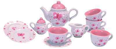 Schylling Butterfly Porcelain Tea Set Kids Girls Pretend Play Toy Quality New