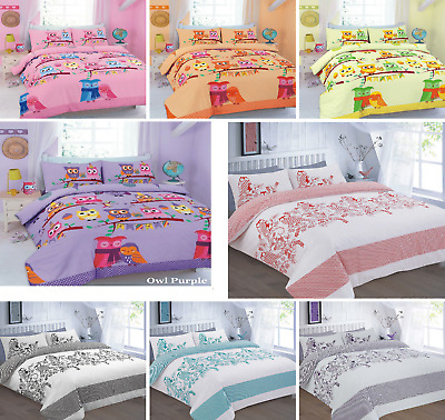 Cute Owl Duvet Cover Set Single Double King Pillow Cases Kids Funky Bedding Set