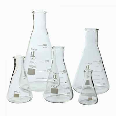 Erlenmeyer Flask Set of 5 Laboratory Glassware Science Lab Chemistry Beaker NEW