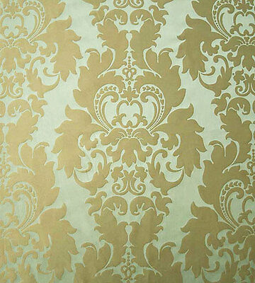 100% Silk, Damask, Drapery Fabric. New. Green-Blue & Taupe. Traditional Motif