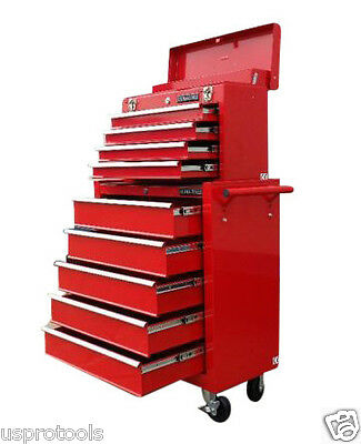 133 Us Pro Tools Red Affordable Tool Chest Rollcab Steel Box Roller Cabinet