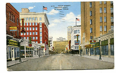 Vintage Postcard EL PASO TX  Texas Street looking West Paso Del Norte Hotel 1948