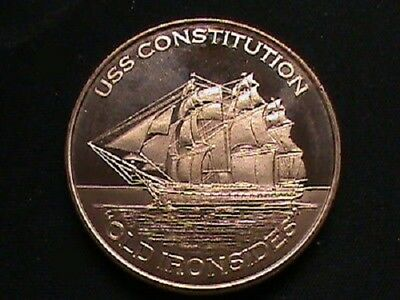 USS Constitution-Old Iron Sides 1 oz .999 Copper BU Round USA Made Bullion Coin