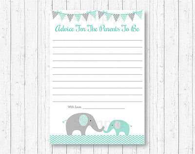 Mint Green /& Grey Chevron Elephant Baby Shower Games Pack 8 Printable Games