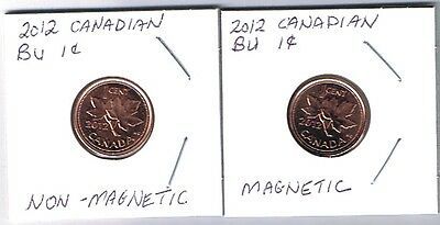 2012 Canada  2 X 1¢ Lucky Penny Magentic & Non-Magnetic Unc. Obsolete Canadian
