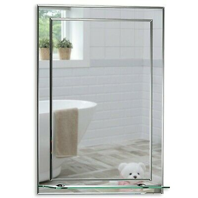 Bathroom Mirror Elegant Rectangular WITH SHELF 60x43cm ~ Wall Mounted Plain 2AE