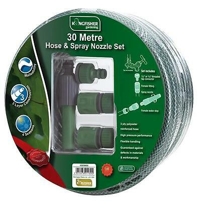 New 30M Reinforced Garden Hose Pipe Reel With Spray Nozzle Fittings Set Season