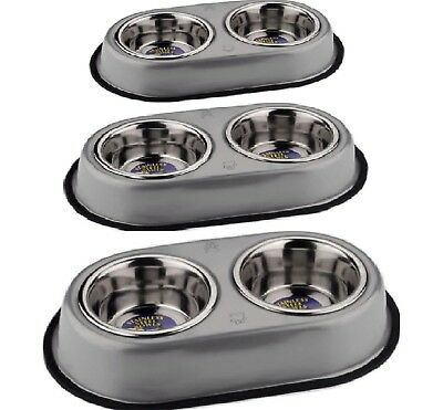 DOUBLE DINER SET - Stainless Steel Bowls Pet Dog Cat Food Water Metal dm Dish