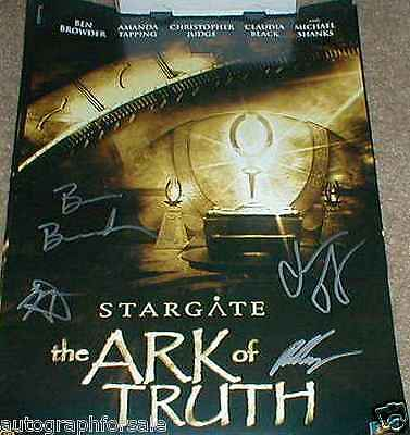 Stargate Ark of Truth auto signed movie poster Ben Browder Christopher Judge COA