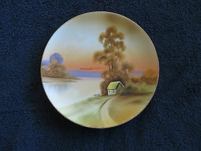 """Nippon Hand Painted Plate M in Wreath Mark Cottage House Lake Nature Vintage 6"""""""