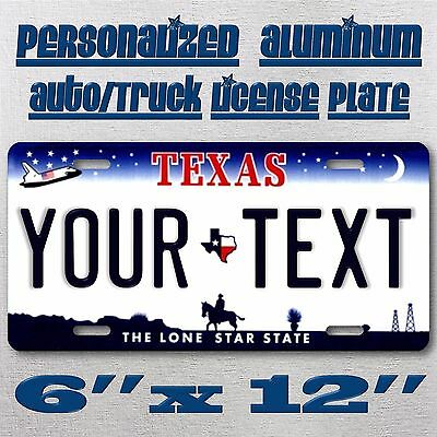 Texas Aluminum Novelty Car License Plate Tag Custom Personalized Your Blue Text