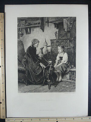 Antique Orig VTG Little Barefoot Child Watching Grandmother Spin Engraving Print