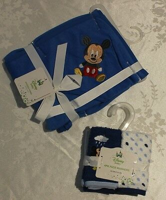 Licensed Disney Baby Hooded Towel And 4 Pack Face Washers Blue