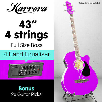 New 4 String Karrera Acoustic Bass Guitar Electric Pickup Band Equalizer Purple