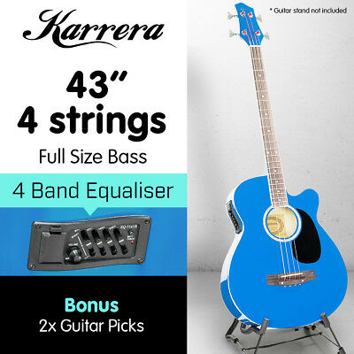 New 4 String Karrera Acoustic Bass Guitar Electric Pickup 4 Band Equalizer Blue